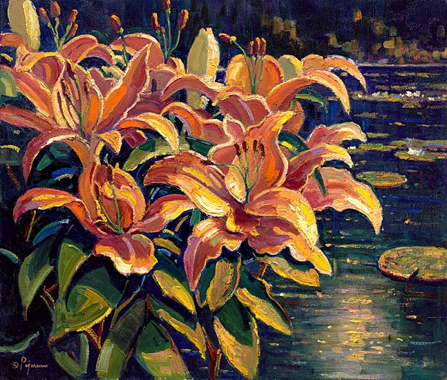 Bob Pejman - Tiger Lilies by the Pond